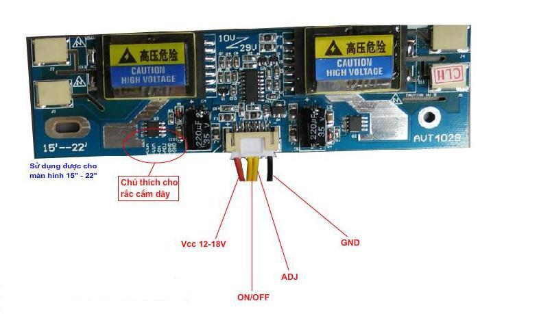 Board cao áp màn hình LCD 4 bóng